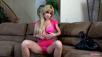 Fiesty golden-haired masturbates with sextoy