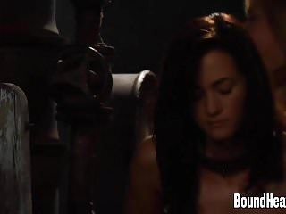 Taken cutie bound up in chains and whipped hard