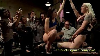 Fastened playgirl abused in front of crowd