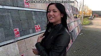 Wicked cutie in hawt panty pumped in public