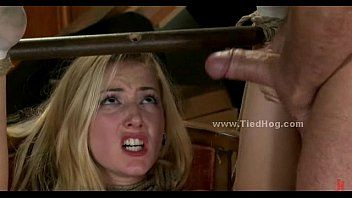 Blond compulsory to fuck in way-out deepthroat and servitude perversion movie scene