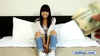 Non-professional small latin babe legal age teenager copulates for specie at a fake casting
