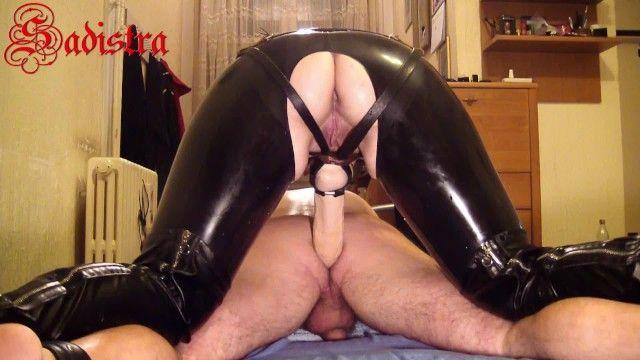 Latex goddess sadistra - whipping pumping slaves anus