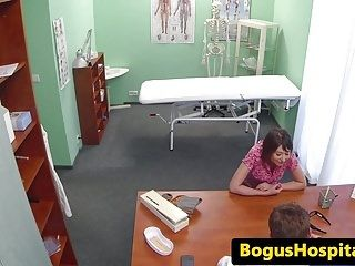 Lesbo nurse examines patients snatch