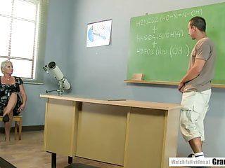 Pervert student bonks aged teacher
