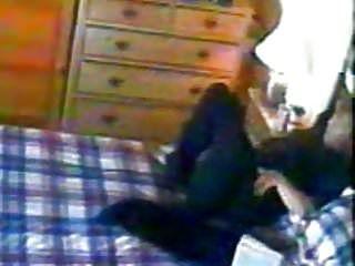 Abode sitter knocks one off to porn vid. hidden camera