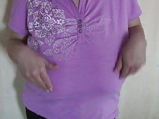 Purple shirt and massive melons