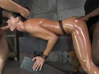 Milf manacled down and drilled raw by 2 rods at one time