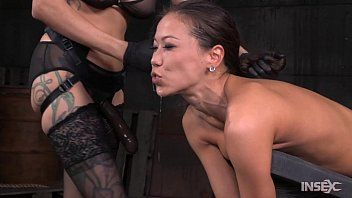 Slim oriental wench stuffed hard by lezdom belt on