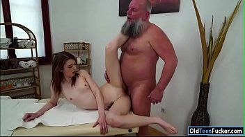 Czech tera link fingered by old masseur and engulfing his wang