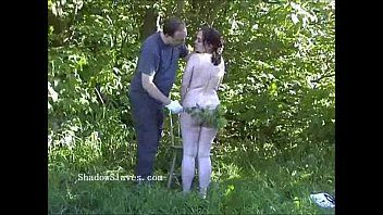 Outdoor nettles sm and bbw bondman gals garden thraldom and stinging torture