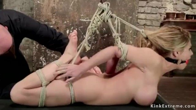 Hot blond hair gal crotch roped hogtied and vibed