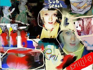 Emilia, two fotos, fame for life and free, movie scene in paint