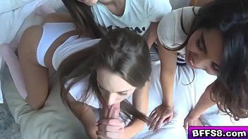Flirty legal age teenager bffs drilled by a hawt neighbour