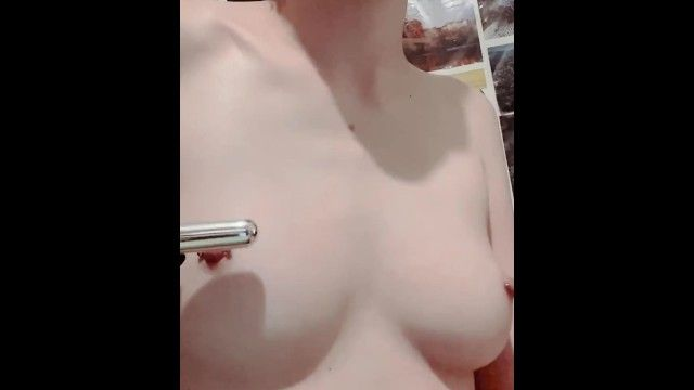 Using bullet fake penis on pierced nipps