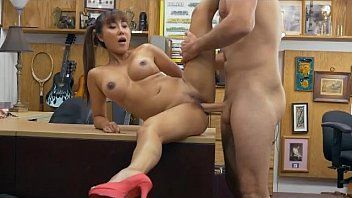 Oriental with pig tials brittany rain getting screwed on a desk