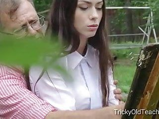 Tricky old teacher - sinless legal age teenager student bonks her pervert