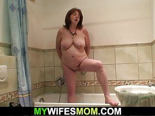 Breasty mother in law coercive to engulf and ride his schlong