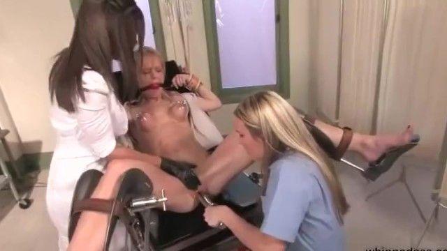 Lezdom nurses experiment with a blond harlots orgasms