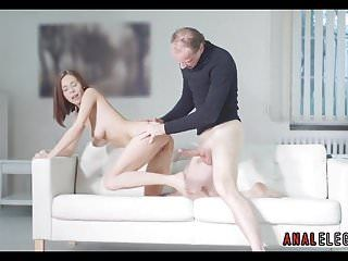 Sexy playgirl bows over for from behind anal sex
