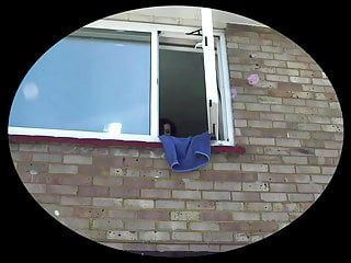 Stripped doxy pissing throughout the window