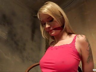 Gal piaff chair-tied gagged nude in natures garb vibed
