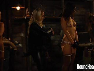 Lesbo dominatrix-bitch setting value on slaves for auction