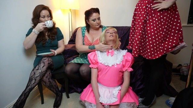 Pvc sissy maid with 3 hot mistresses