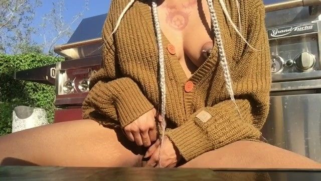 Playing with my bawdy cleft outside cum home cum at home