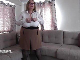 Full length white skirt and white girdle