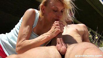 Slim old golden-haired slut drilled outdoor by juvenile boy on grandmams.com