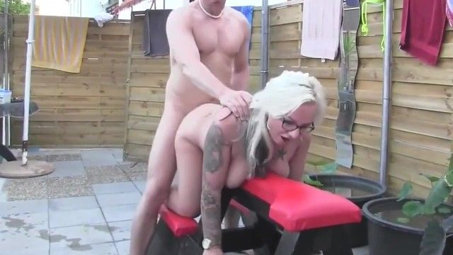 Curvy milf non-professional with glasses copulates man at pool party