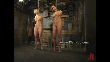 Hawt blond bitch immobilized and fastened