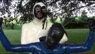 Youthful rubber bondman beauty outdoor servitude and breath control with latex sheet