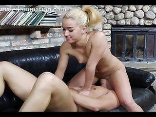 Golden-haired female-dominant undressed facesitting