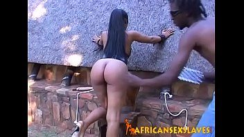 African sm sex bondman playing with sex-toy