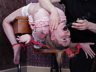 Brutal face banging and anal drilling for fastened up schoolgirl villein