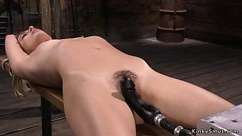 Fastened hirsute golden-haired is machine team-fucked