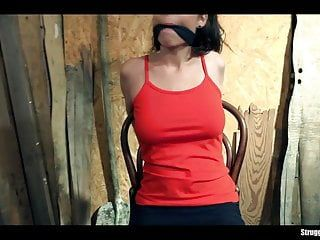 Antonia sainz chair-tied cleavegagged in natures garb vibed