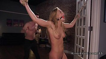 Fastened girlfriend flogged and anal screwed