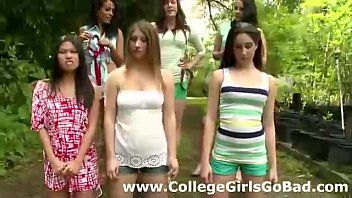Lesbo sorority humiliates stripped legal age teenagers outdoors