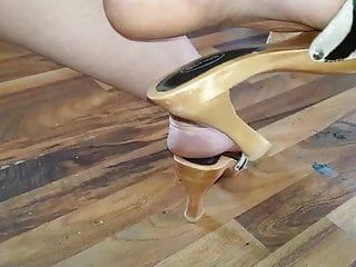 High heel dangling 8 summer vibes and stripped feet