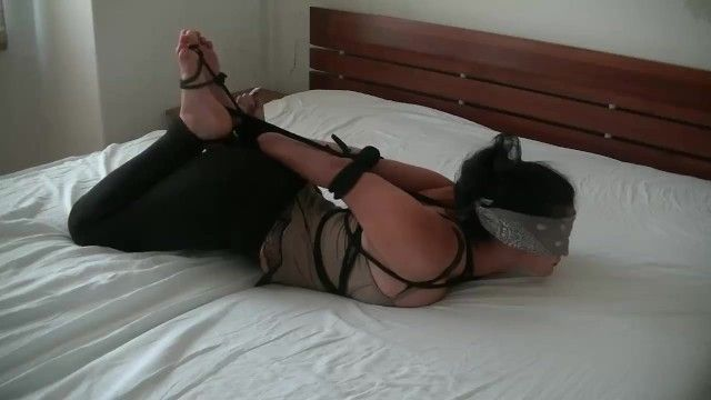 Hogtied angel slave, awaiting for his slaver