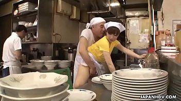 Japanese waitress mimi asuka acquires finger drilled in the restaurant