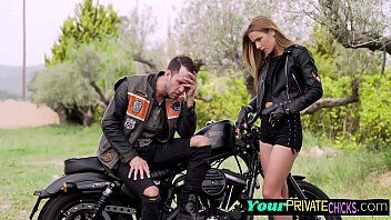 Biker playgirl is ridden hard and fast