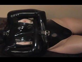 Latex hotty hooded bound straitjacket