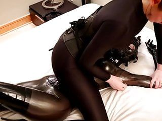 Savannah tickles, tortures and chokes a manacled rubber hotty