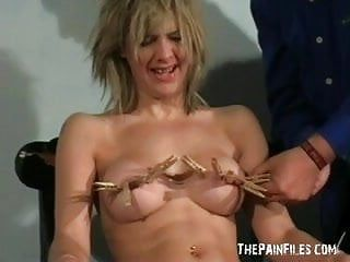 Trashy milf in dilettante sadomasochism and pegged tit punishment of emma