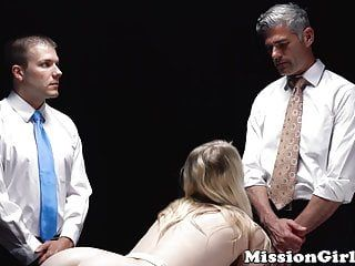 Fearful mormon honey double screwed hard by 2 perverts