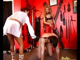 Domme tag team group up for gay sub castigation
